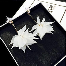 Women Elegant Crystal Flower Ear Drop Long Dangle Stud White Earrings Jewelry