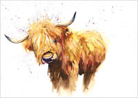 HELEN ROSE Limited Print of my HIGHLAND COW animal art watercolour  147