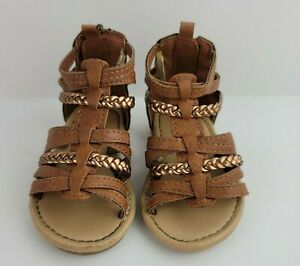 Carters Toddler Girls Size 4 Brown Faux Leather Bronze Gladiator Sandals Shoes