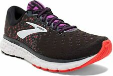 Brooks Women's Glycerin 17 Running Shoe, Black/Fiery Coral/Purple, 7 B(M) US