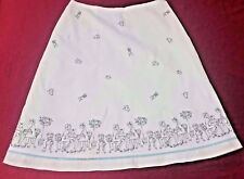 ANN TAYLOR LOFT WOMEN'S SIZE 10 WHITE EMBROIDERED BOSTON TEA-PARTY A LINE SKIRT