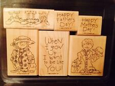 Stampin' Up! When I Grow Up 6 Rubber Wood Stamp Set Father's & Mother's Day 2005