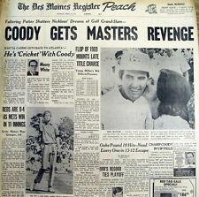 Best 1971 headlin display newspaper CHARLES COODY wins MASTERS GOLF CHAMPIONSHIP