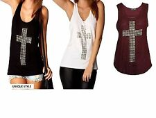 Womens Ladies Gothic Stud Cross Racer Back Sleeveless Stretch T Shirt Vest Top