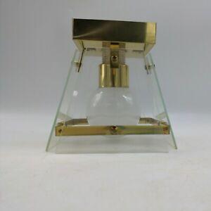 Vintage Glass Panel Mount Light Ceiling Mid Century Modern Fixture brass gold