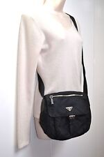 PRADA Unisex Nylon Messenger Crossbody Bag Tessuto Nylon Nero Medium Authentic
