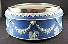 Vintage Wedgwood Blue Jasperware Large Bowl With Silver Plate Rim