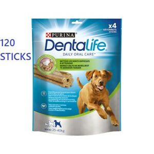 120 Purina Dentalife Large Dog Dental Sticks Chews Treat Tartar Plaque Oral Care