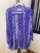 Equipment Silk Snake purple animal Print Shirt Dress Size medium