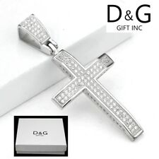 NEW DG Gift Inc Men's Iced-Out .925 Sterling Silver CZ Cross Pendant Unisex+ Box