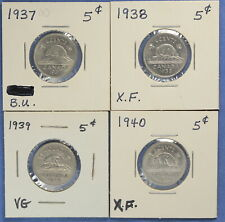 Canada 1937,1938,1939.1940  - Nickel Lot  (5 Cents) - Circulated Grades