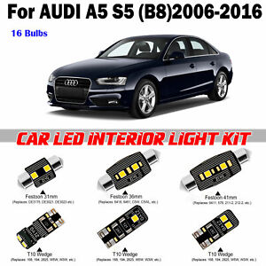 16 Bulbs Bright White LED Interior LED Kit For Audi A5 B8 4door 2006-2016 Lamps
