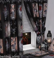 """Histoire de la rose 66""""x72"""" rideaux & tie-dos alchemy gothic masque noir rouge"""