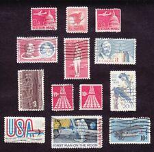 #C64-#C76 MAN ON MOON MID CENTURY 8¢-20¢ USED 13 REG & COIL AIRMAIL 1962-69 CV$4