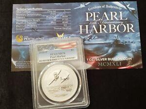 2016-P Tuvalu Pearl Harbor 75th Anniv. - 1 oz. Silver $1 - PCGS MS 70 w/ COA