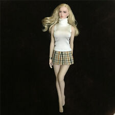"1/6 School Girl White Sweater+Mini Plaid Skirt Sets F 12"" Female Action Figures"