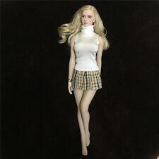 "1/6 School Girl White Sweater+Mini Plaid Skirt Sets F 12"" Female Action Figures"