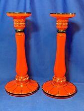 Czecholslovakian Tango art glass decorated tall candlestick pair