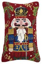 """Handmade Hooked Steinabch Nutcracker Red Christmas Throw Pillow 14"""" x 22"""""""