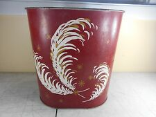 Colorware Tin Metal Garbage Trash Can Feather Pattern Red Bathroom Decor