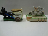2 Vintage Japan Dog Ashtrays, Ceramic, Handpainted, Excellent, 1040s-1950s Nice