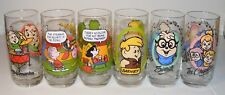 Lot of 6 Collector Glasses Chipettes, Flintstones, McDonalds, Chipmunks, Snoopy
