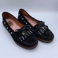 COACH Women's Roccasin Embellished Suede Moccasin Shoes Black US 6.5 EU 37