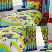 Diggers Duvet Covers Green Tractor Construction Boys Kids Quilt Sets Collection