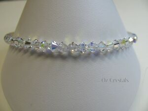 Anklet made with Swarovski, Crystal AB Heart Charm & Solid Sterling Silver,25cms