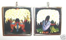 DIEGO RIVERA THE FLOWER SELLERS ART GLASS PENDANT
