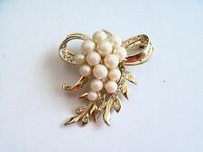 Large Bow Gold Tone Grape pearl Crystal Pin Brooch F17