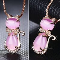 WOMEN GIFT FOR HER Rose Gold Cat & Pink Opal Necklace Silver Sister Best Friends