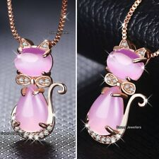 Animal Necklace Silver Mum Daughter Women Xmas Gifts For Her Pink Moonstone Cat