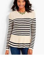 Talbots Womens Striped Peplum Cable Knit Sweater Size XL Petite Cream Blue