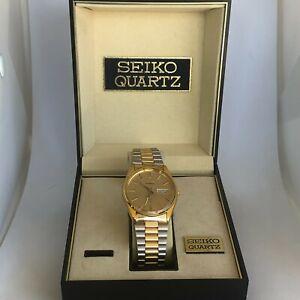 Seiko SQ Vintage 8223-8019 Quartz Men's Wristwatch Day Date Analog Two Tone