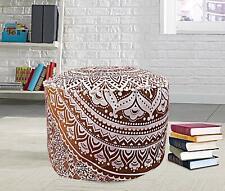 Mandala Pouf Cover Ottoman Cotton Floor Pillow Hippie Boho Brown Decor Footstool