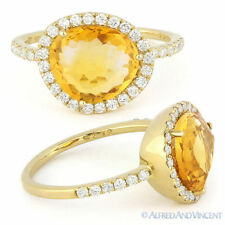 3.08ct Fancy Cut Citrine Round Cut Diamond Halo Right-Hand Ring 14k Yellow Gold
