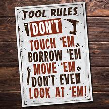 Tool Rules Hanging Sign Pub Garage Man Cave Workshop Dad Grandad Birthday Gifts