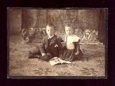 CABINET CARD PHOTO LITTLE BOY GIRL BOOK MAGAZINE CATALOG DRESS SUIT antique USA