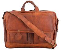 New Men's Vintage Goat Leather Briefcase Handbag Shoulder Messenger  Laptop Bag