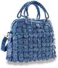 Blue Layered Petal Studded Fashion Statement Handbag Dual Straps