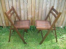 VTG (2) WOODEN Folding Chairs Wood Slat Seat/Back-Tongue/Groove Sides*STURDY*