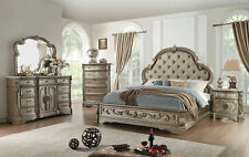 NEW Champagne Finish 5 pieces Marble Bedroom Set w/ King Faux Leather Bed IAAR