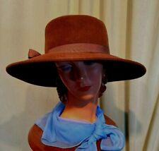"""Cool Vintage 70s 80s Dark Brown Velour Wide Brim Hat 22.5"""" Around Inside"""