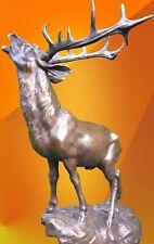 More details for calling stag bronze statue figurine animal figure hot cast signed deer sculpture