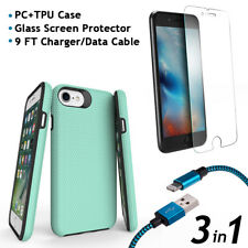 iPhone 8  Case PC TPU + Glass Screen Protector + 9 FT Charger/Data Cable 3 in 1