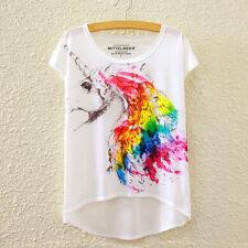 Fashion Women Short Sleeve Unicorn Print Asymmetric High Low T Shirt Blouse Tops
