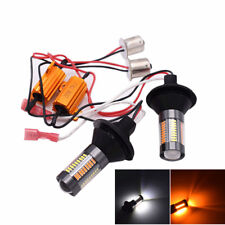 2x T20 7440 1156 BAU15S 66SMD DRL White Driving Amber Turn Signal Light Resistor