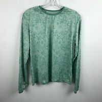 Patagonia Blouse Size L Green Floral Long Sleeve Polyester Womens Shirt Top M
