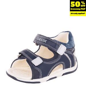 GEOX RESPIRA Kids Leather Sandals EU 20 UK 3.5 US 4.5 Stitched Logo Hook & Loop
